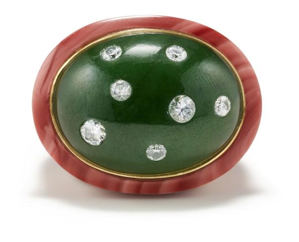A Jade, Jasper, Diamond and Gold Ring