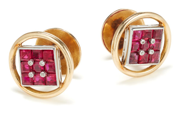 A Pair of Ruby, Diamond and Gold Cufflinks