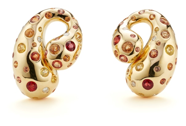A Pair of Fancy Sapphire, Diamond and Gold Earrings
