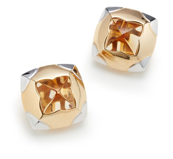 A Pair of Citrine and Gold 'Pyramide' Earrings