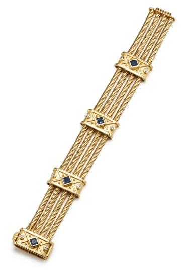 A Sapphire, Diamond and Gold Bracelet
