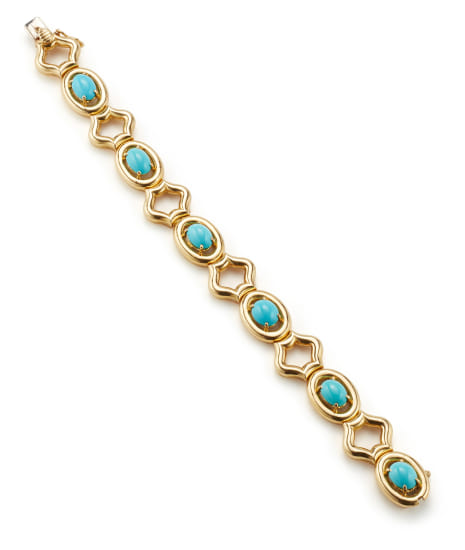 A Turquoise and Gold Bracelet
