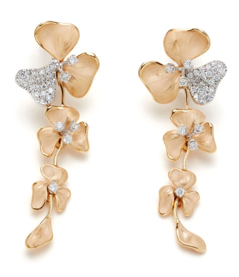 A Pair of Diamond and Gold 'Seta Moving' Earrings