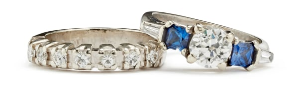 A Diamond, Sapphire and Gold Ring and A Diamond and Gold Ring