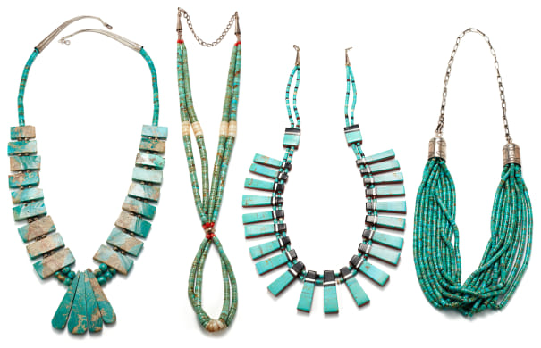 A Collection of Turquoise, Coral, Onyx, Sard, Shell and Silver Necklaces