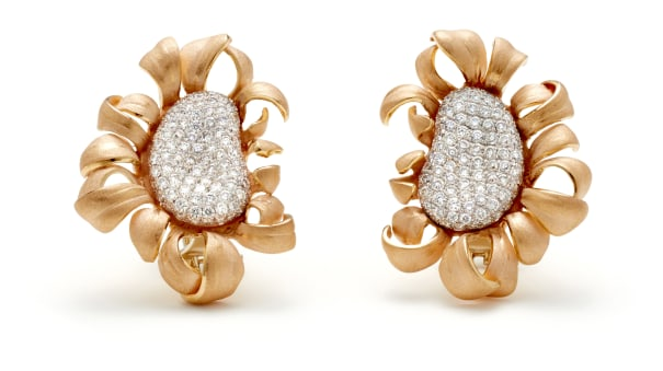 A Pair of Diamond and Gold 'Mirage' Earrings
