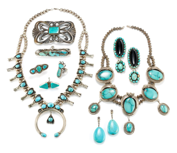 A Collection of Turquoise, Onyx and Silver Necklaces, Earrings, Rings and Belt Buckle