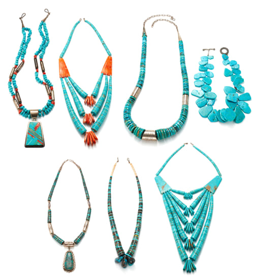 A Collection of Turquoise, Coral, Shell and Silver Necklaces