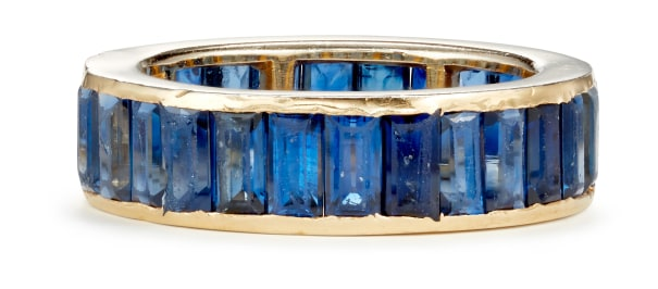 A Sapphire and and Gold Plated Platinum Ring