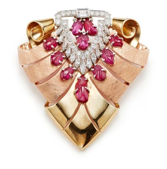 A Retro Ruby, Diamond, Platinum and Gold Brooch