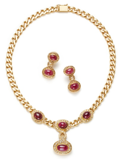 A Ruby, Diamond and Gold Necklace and Pair of Earrings