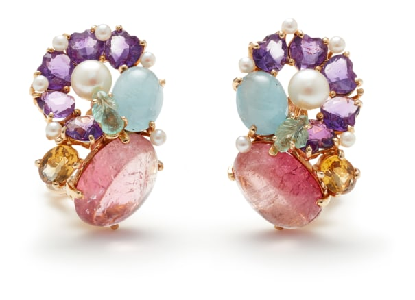 A Pair of Gem-Set and Gold Earrings