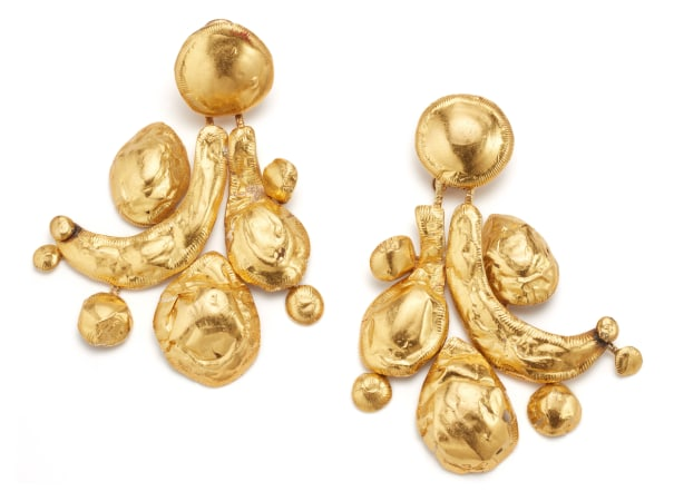 A Pair of Gold and Base Metal Earrings