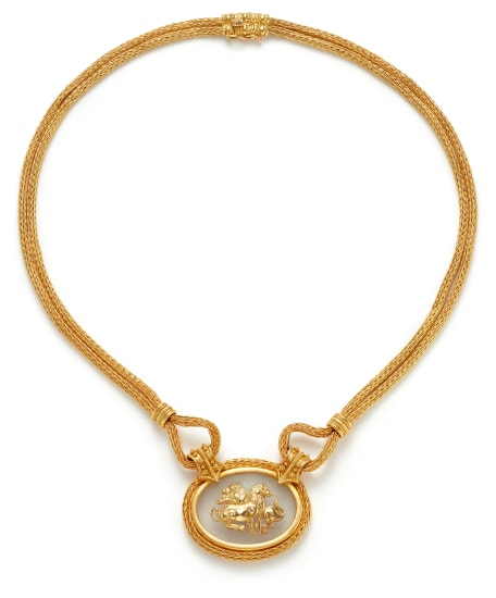 A Rock Crystal and Gold Necklace and Bracelet