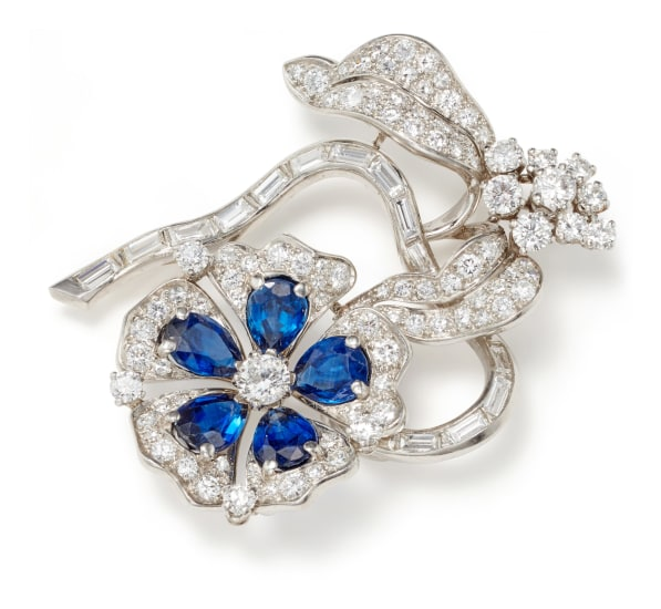 A Sapphire, Diamond and Platinum Brooch