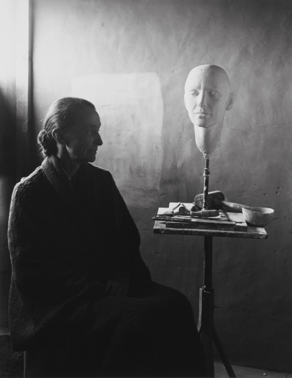 Georgia O'Keeffe and Head of O'Keeffe by Mary Callery, Ghost Ranch, New Mexico