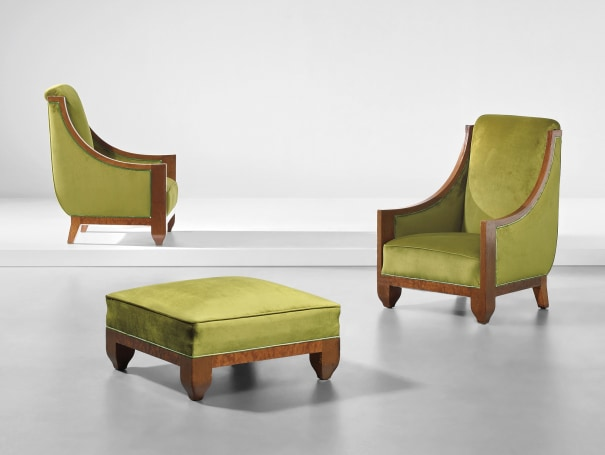 Pair of armchairs and ottoman