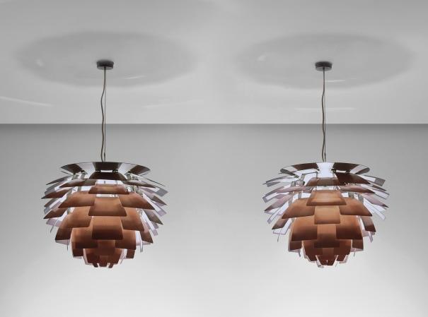 Pair of 'Artichoke' ceiling lights, designed for the Langelinie Pavilion restaurant, Copenhagen