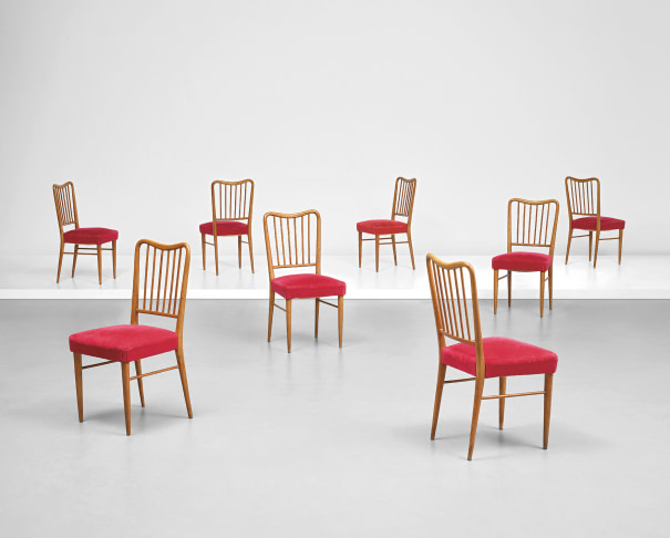 Set of eight side chairs