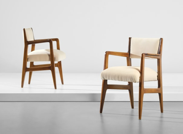 Pair of armchairs, designed for the second class dining room of the 'Conte Biancamano' ocean liner