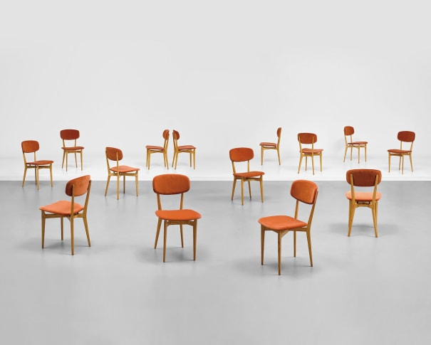 Fourteen dining chairs, model no. 691
