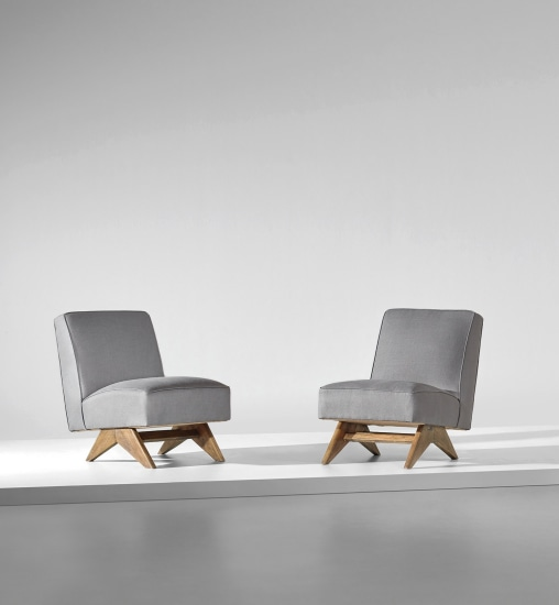 Pair of low chairs, model no. PJ-SI-36-A, designed for the High Court and P. U. Student residences, Chandigarh