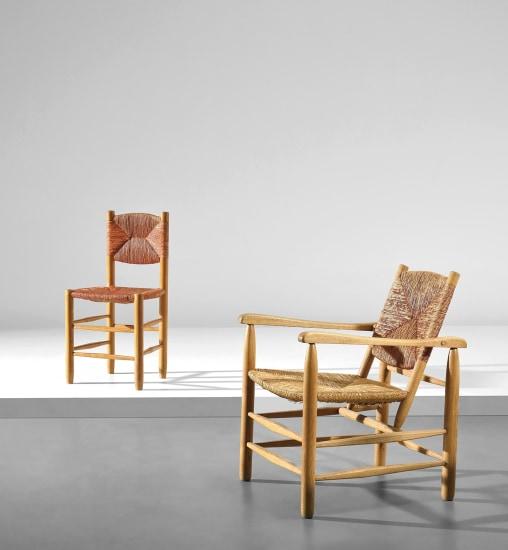 Armchair, model no. 21 and side chair, model no. 18, from 'L'Équipement de la Maison' series, Grenoble