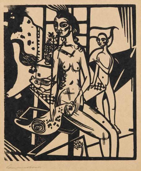 Interieur mit zwei Akten, plate 1, from Die Schaffenden, vol. I, no. 2 (Interior with Two Nudes, from The Creatives)