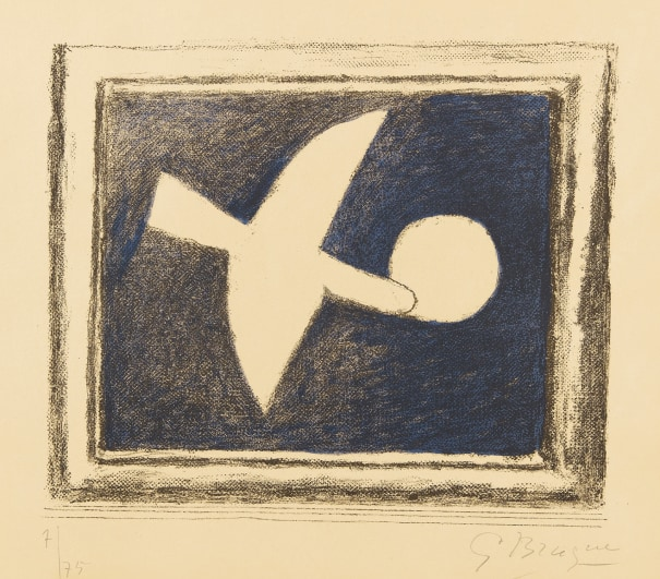 GEORGES BRAQUE LITHOGRAPH SIGNED IN PLATE DEUX OISEAUX 2 BIRDS