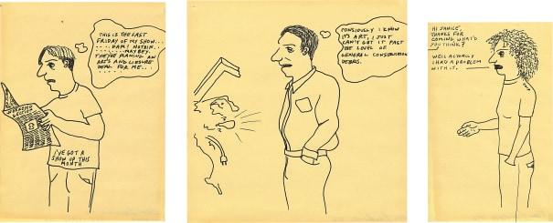 Cartoon (I've Got a Show Up this Month); Cartoon (I Know It's Art); and Cartoon (Chip)