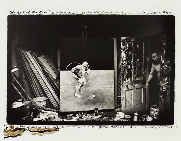 Francis Bacon in his studio, 7 Reese Mews off the Old Brompton Road London (a painting later destroyed)