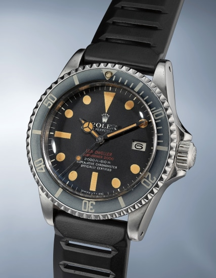 A highly rare and extremely attractive stainless steel wristwatch with date, center seconds and helium escape valve