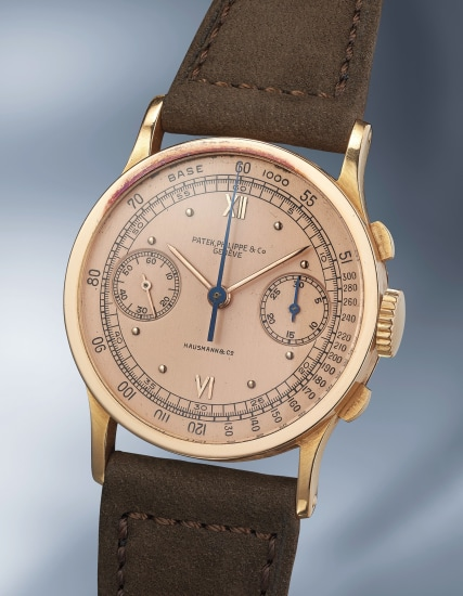 A highly rare and exceptionally well-preserved pink gold chronograph wristwatch