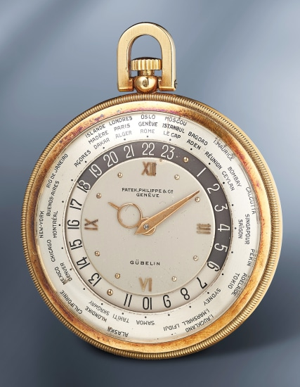 A rare and elegant yellow gold open face world-time pocket watch with box
