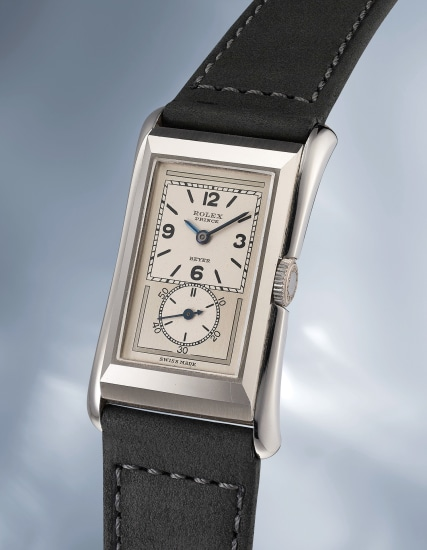 An incredibly well preserved stainless steel rectangular wristwatch
