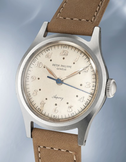 A highly rare and most probably unique stainless steel wristwatch with Breguet numerals, luminous dial and hands