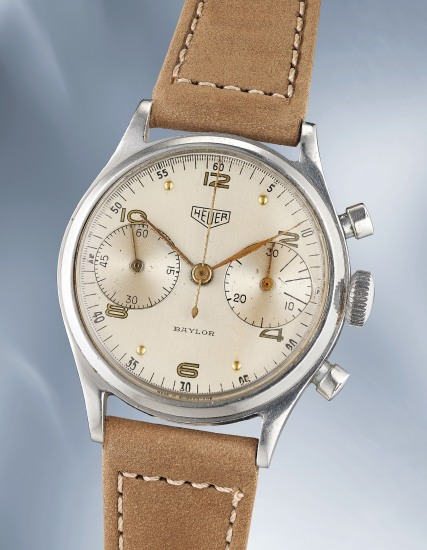 A very attractive and sportive stainless steel chronograph wristwatch with screw down caseback