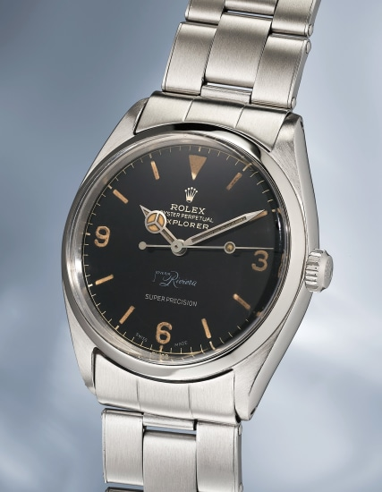 """A very attractive and incredibly rare stainless steel wristwatch with bracelet and """"double Swiss exclamation mark"""" dial"""