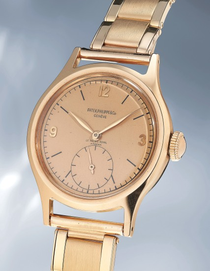 A highly rare and attractive pink gold wristwatch with pink dial and bracelet