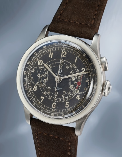 A fine and rare stainless steel chronograph wristwatch with black dial