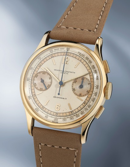 A very attractive and rare yellow gold chronograph wristwatch with three-tone dial