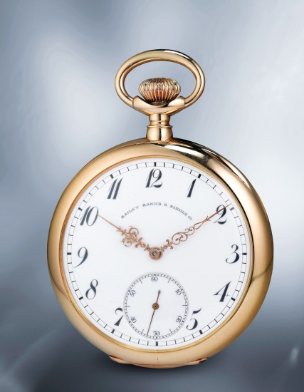 A large, attractive and well-preserved yellow gold openface watch with enamel dial, subsidiary seconds and guillaume balance