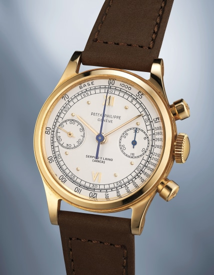 A rare, attractive and very well-preserved yellow gold chronograph wristwatch