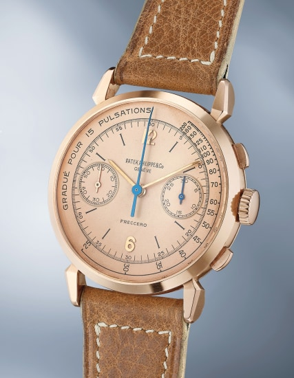 An elegant and beautiful pink gold chronograph wristwatch with pink dial and pulsometer scale and box