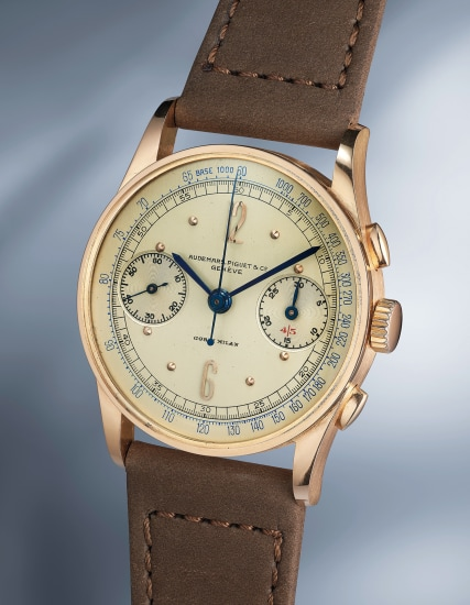 An extremely attractive, well preserved and rare pink gold chronograph wristwatch