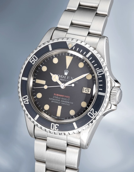 """A very rare stainless steel wristwatch with center seconds, date, MKII """"Single Red"""" dial, bracelet, guarantee and box"""