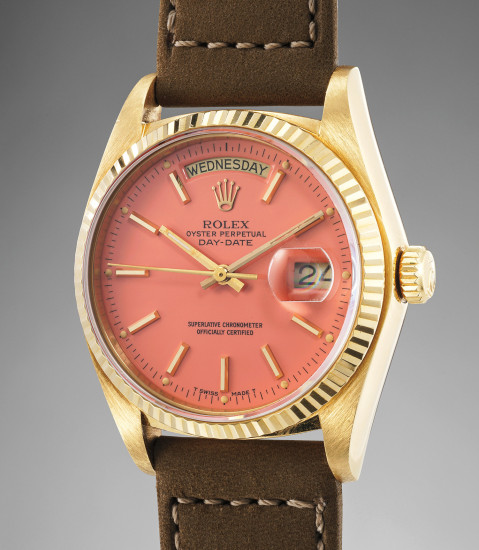 """A highly rare, unusual and attractive calendar wristwatch with flamingo """"Stella"""" dial and center seconds"""