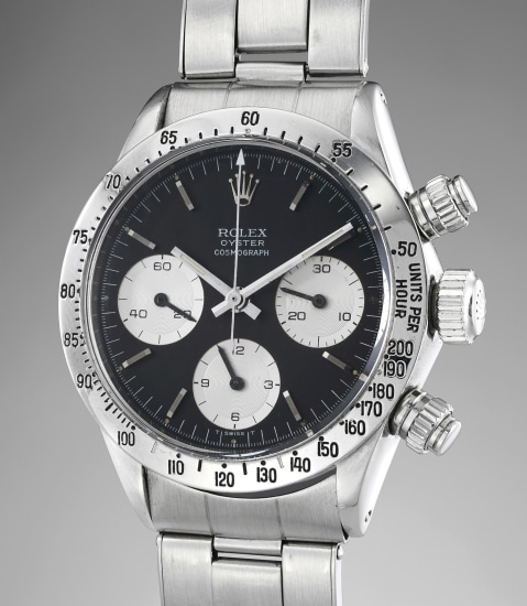 An attractive stainless steel chronograph wristwatch with black dial and bracelet
