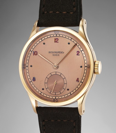 A highly rare and very attractive large pink gold wristwatch with two-tone pink dial