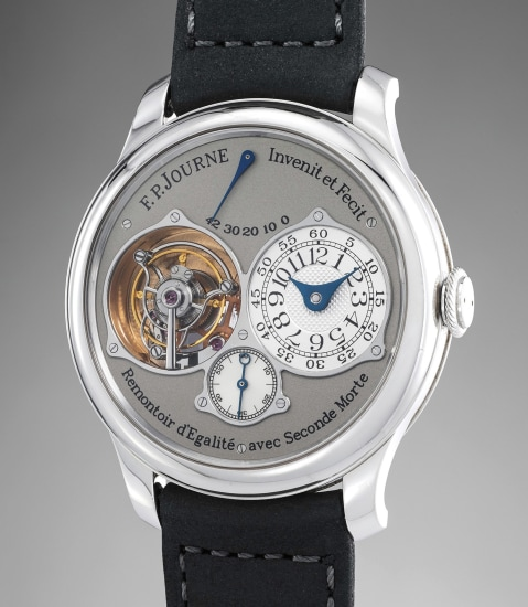 A rare and mechanically complex platinum tourbillon wristwatch with constant force remontoir, power reserve and dead beat seconds